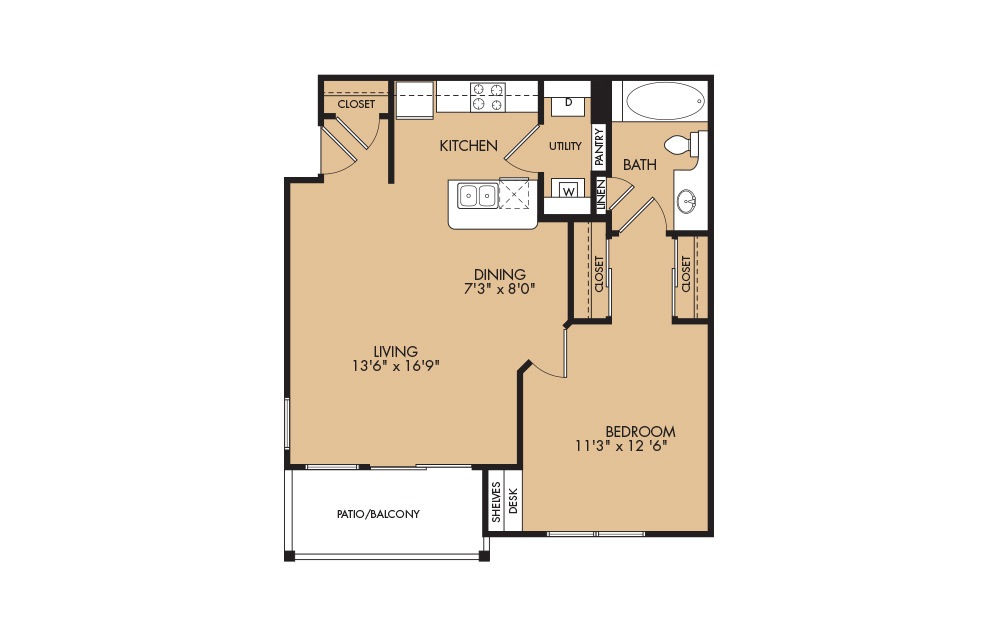 A1 - 1-bedroom floorplan layout with 1 bath and 667 square feet