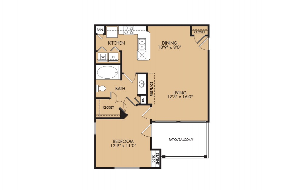 A2 - 1-bedroom floorplan layout with 1 bath and 769 square feet