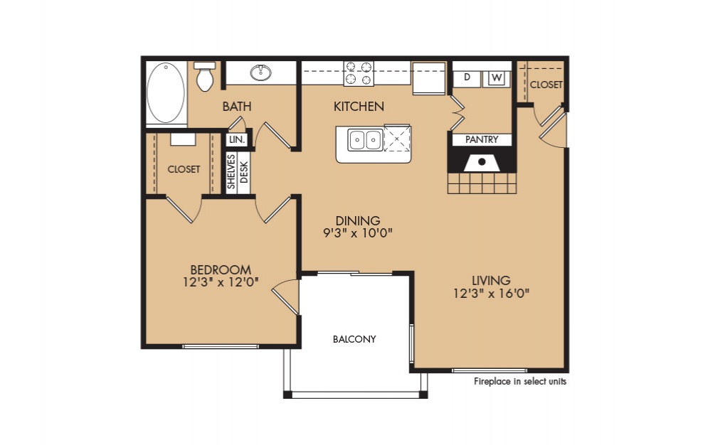 A3 - 1-bedroom floorplan layout with 1 bath and 812 square feet