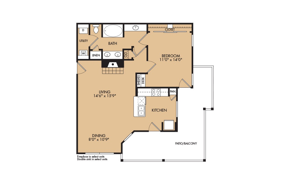 A4 - 1-bedroom floorplan layout with 1 bath and 859 square feet
