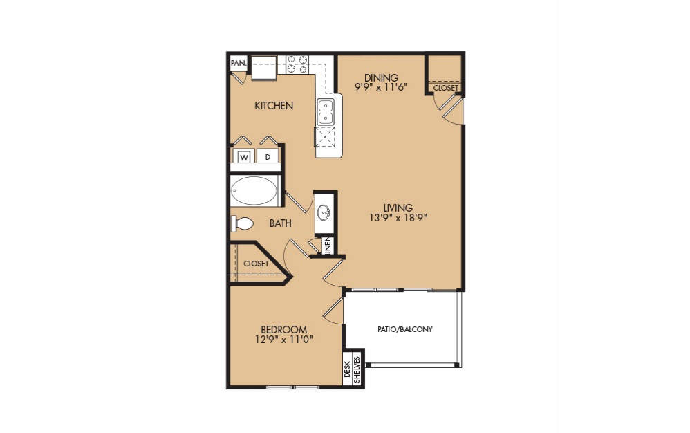 A6 - 1-bedroom floorplan layout with 1 bath and 885 square feet