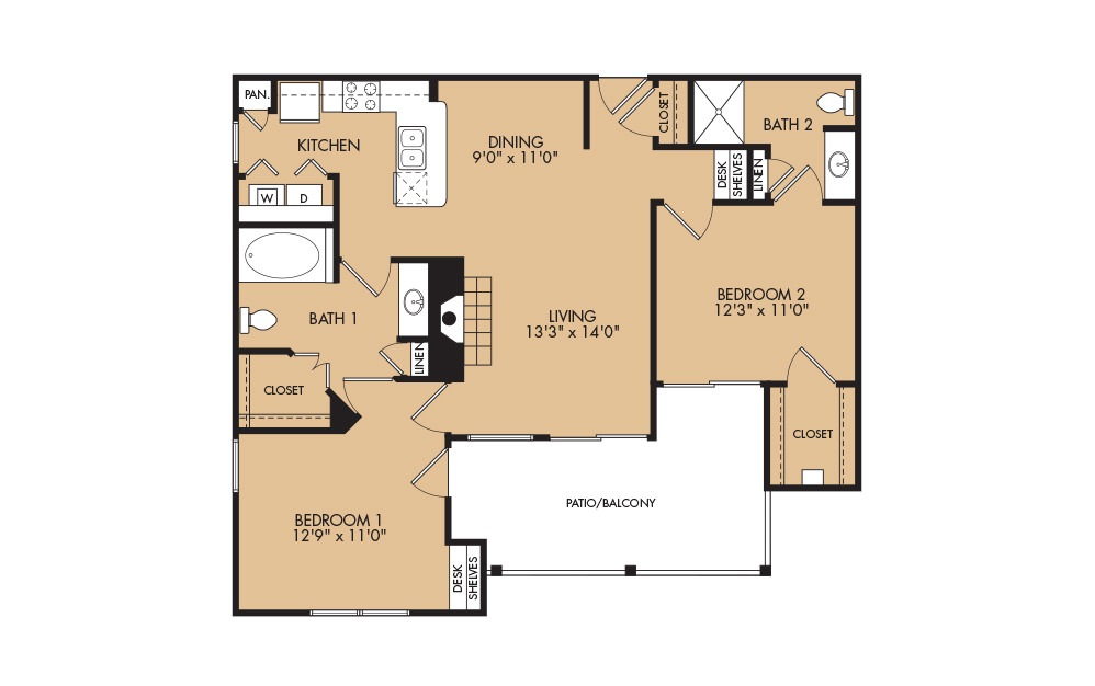B1 - 2-bedroom floorplan layout with 2 baths and 1041 square feet