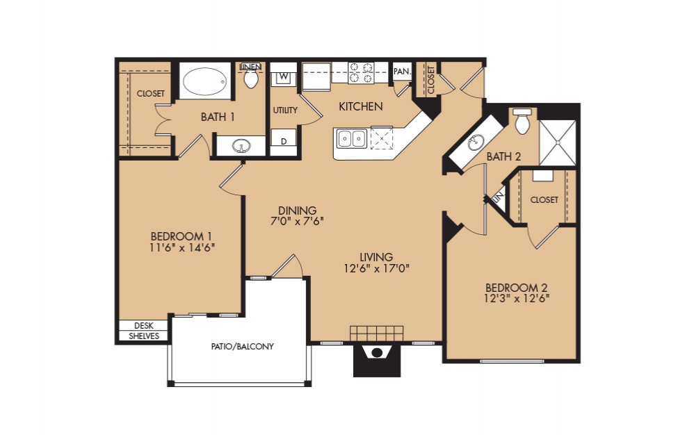 B2 - 2-bedroom floorplan layout with 2 baths and 1108 square feet