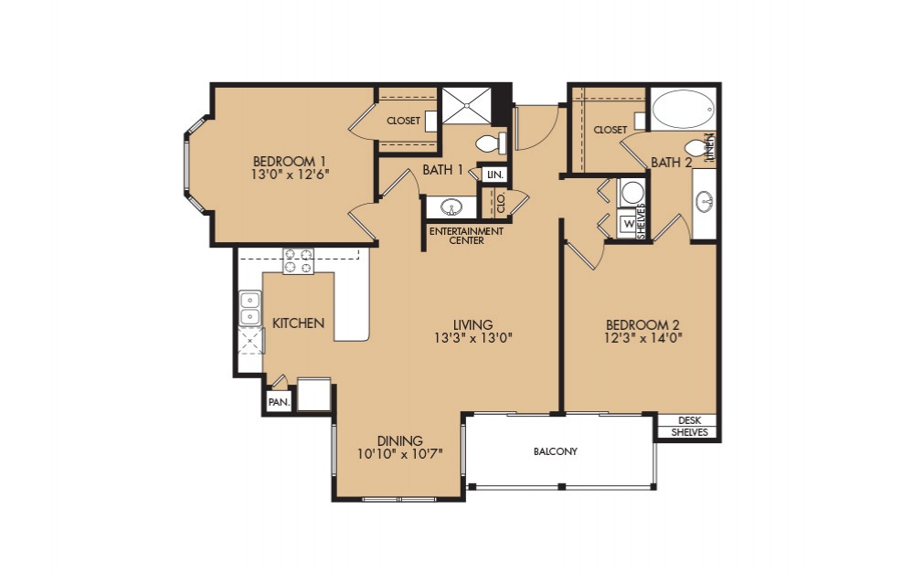 B3- 2-bedroom floorplan layout with 2 baths and 1161 square feet