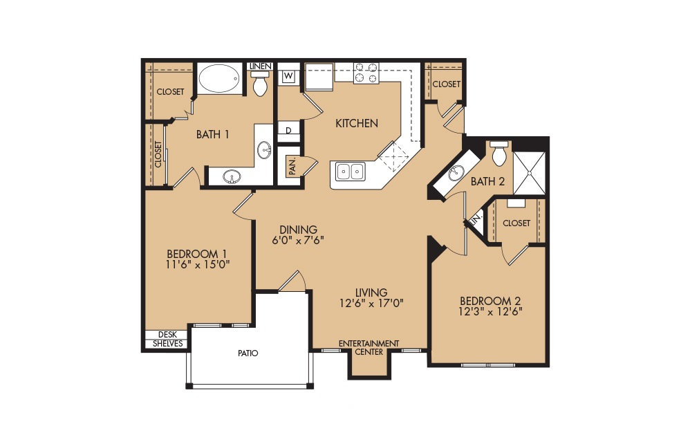 B4 - 2-bedroom floorplan layout with 2 baths and 1234 square feet