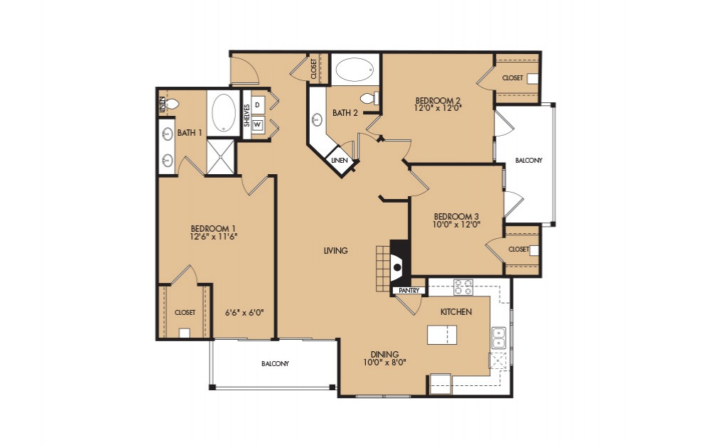 C1 - 3-bedroom floorplan layout with 2 baths and 1358 square feet